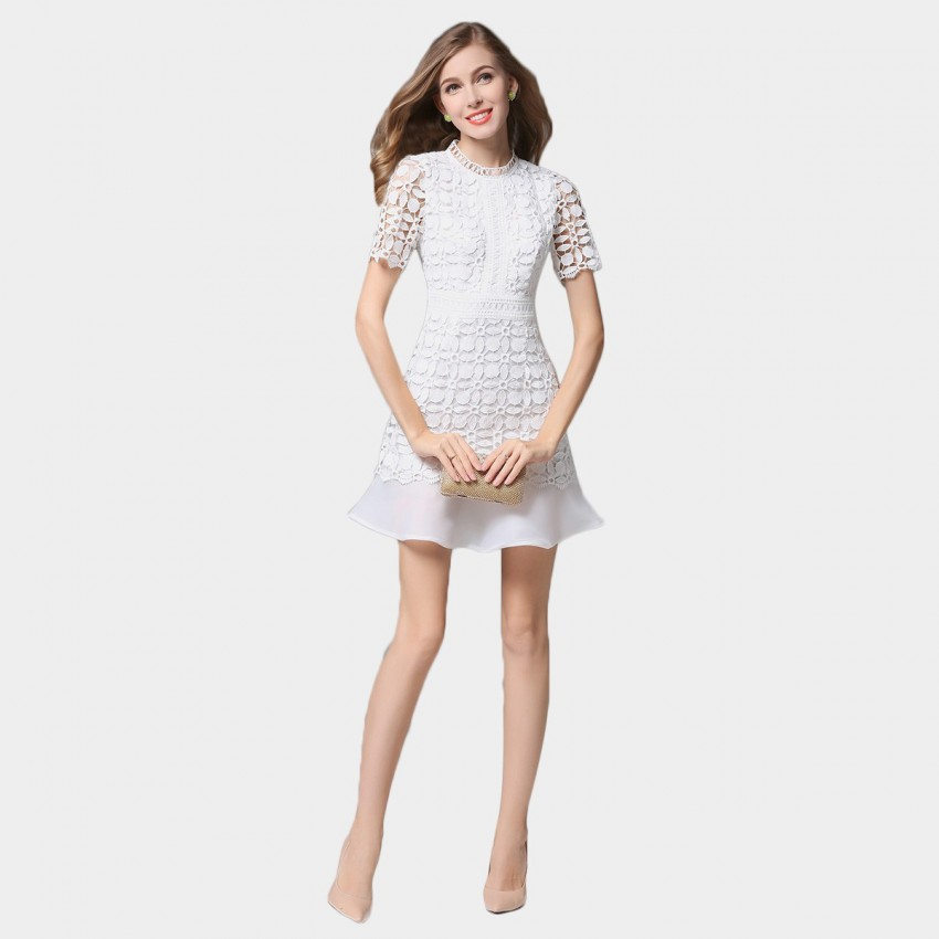 Buy SSXR Petals Patterned Mesh Material White Dress online, shop SSXR with free shipping