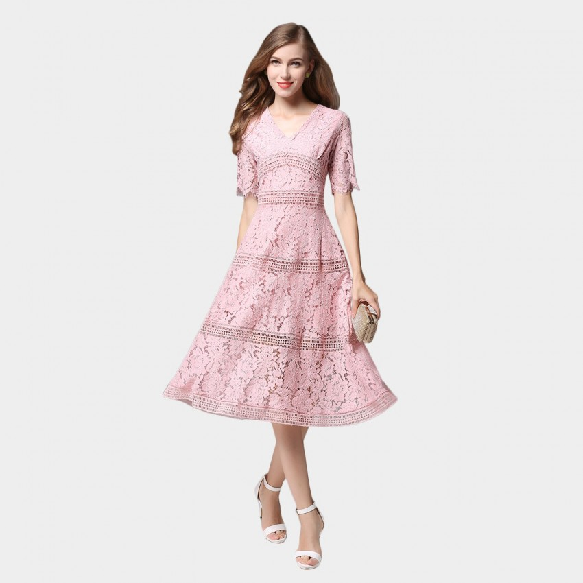 Buy SSXR V Neck Mid Sleeved Knee Length Lace Pink Dress online, shop SSXR with free shipping