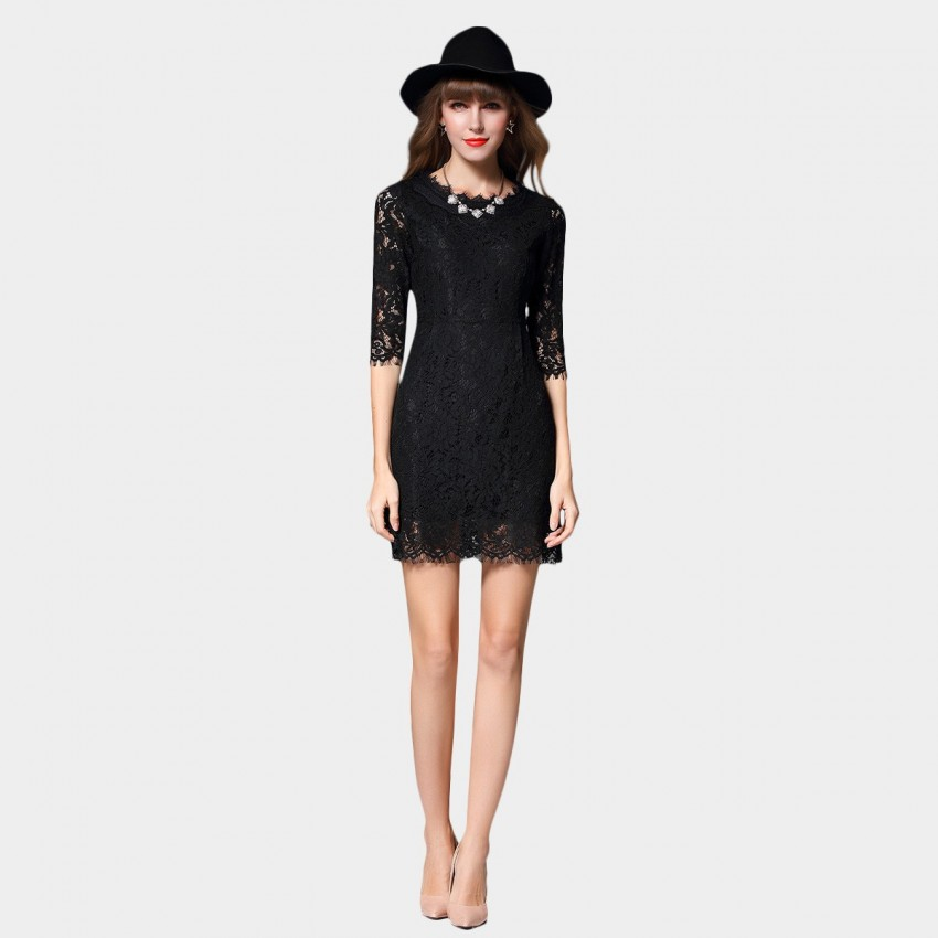 SSXR See Thru Patterned Lace Mid Sleeved Slim Fit Black Dress (5353)