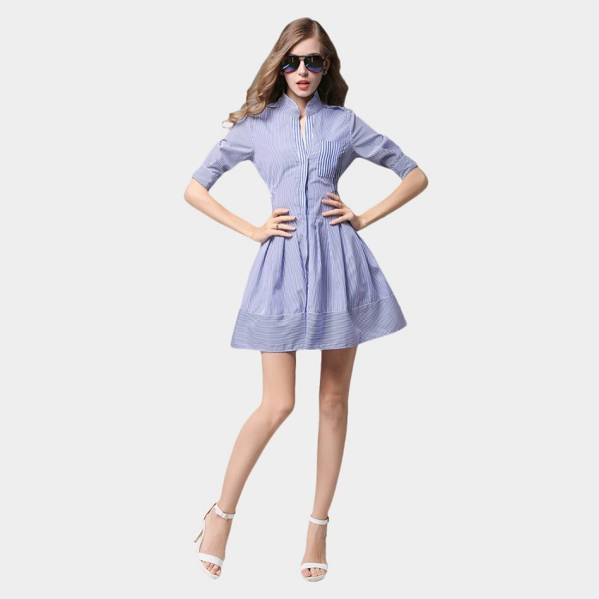 Buy SSXR Strips Trimmed Waist Button Down Pocket Blue Dress online, shop SSXR with free shipping