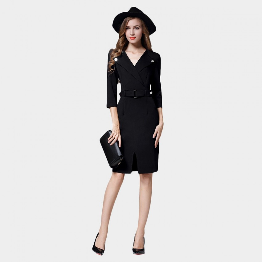 Buy SSXR Wrap Chest Silver Button Black Dress online, shop SSXR with free shipping