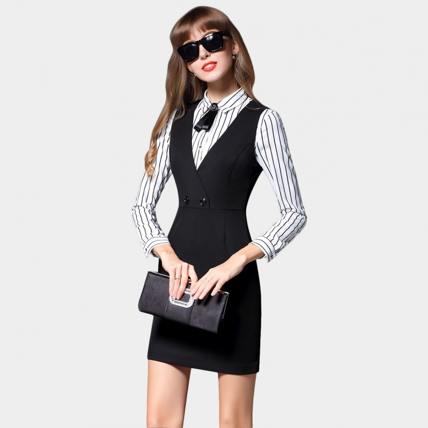 Buy SSXR Ribbon Collar Vest Black Dress online, shop SSXR with free shipping