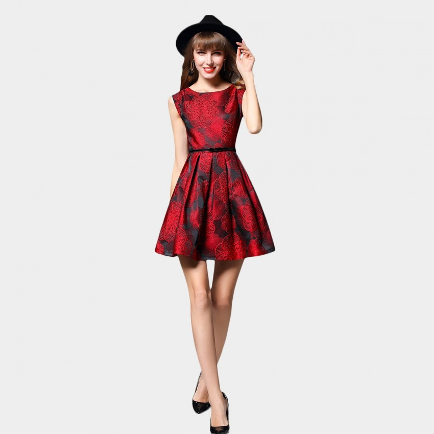 Buy SSXR Bold Floral Patterned Red Dress online, shop SSXR with free shipping