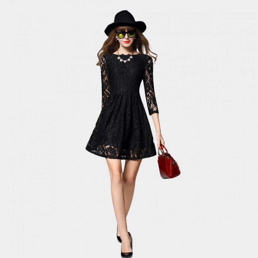 Buy SSXR Lace Mesh Sleeved Black Dress online, shop SSXR with free shipping