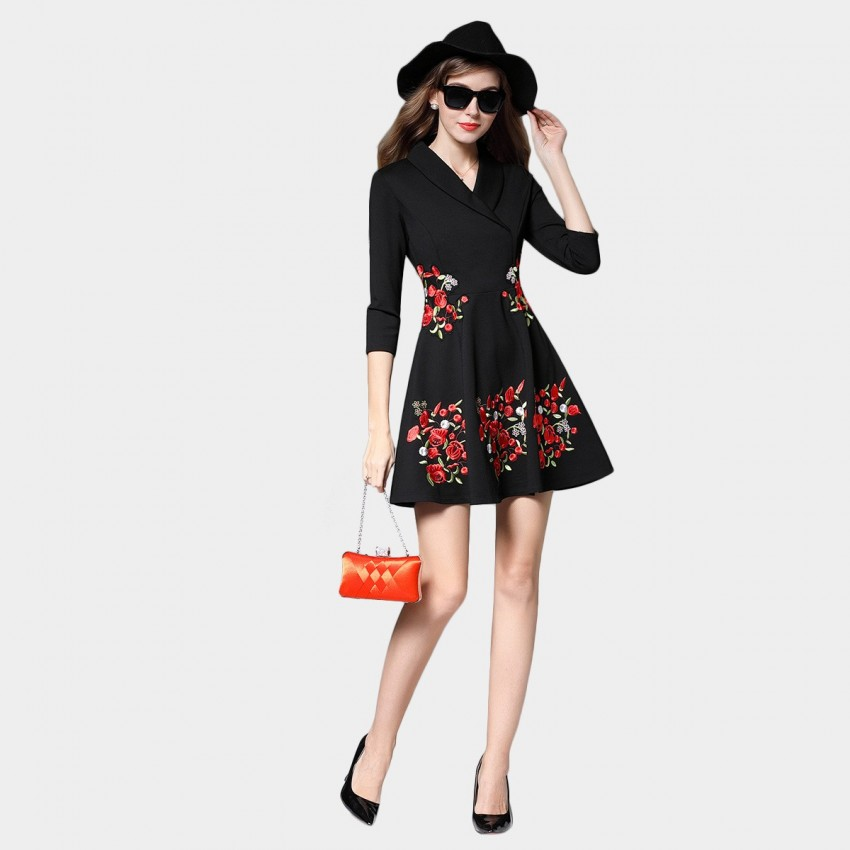Buy SSXR Embroidery Floral Pattern Black Dress online, shop SSXR with free shipping
