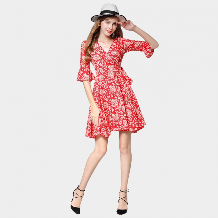 Buy SSXR V Neck Ribbon Waist Pattern Red Dress online, shop SSXR with free shipping