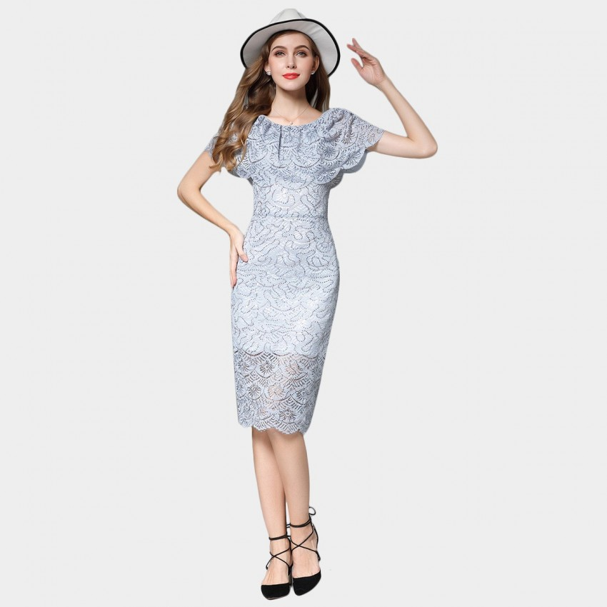 Buy SSXR Cape Shoulder Slim Fit Hollow Pattern Grey Dress online, shop SSXR with free shipping