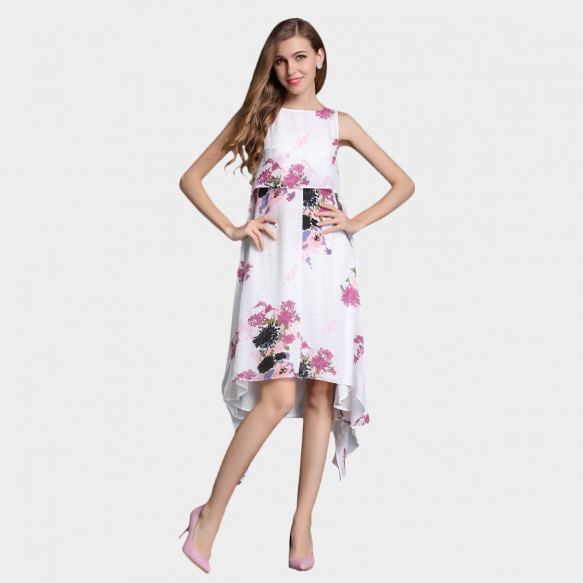 Buy SSXR Irregular Swing Chiffon Rose Dress online, shop SSXR with free shipping