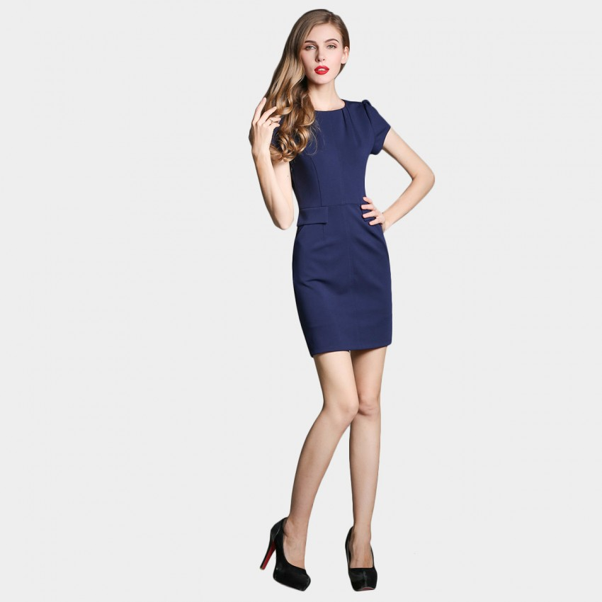 Buy SSXR Puff Sleeves Pocket Navy Dress online, shop SSXR with free shipping