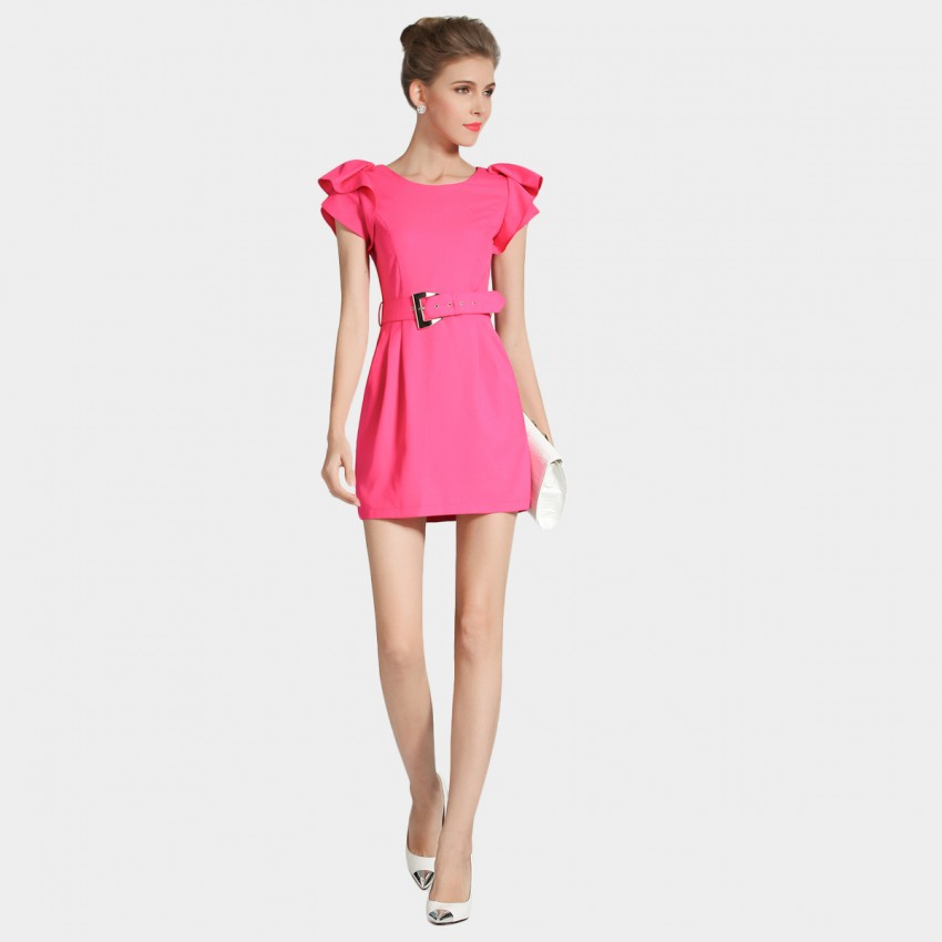 Buy SSXR Ruffled Sleeves Mini Pink Dress online, shop SSXR with free shipping