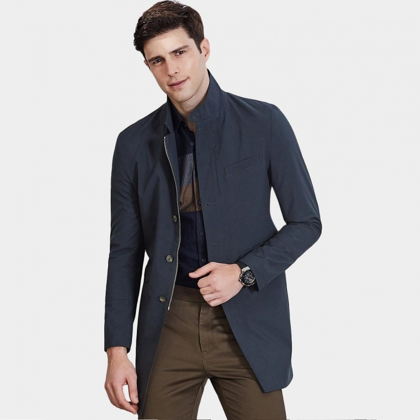Qzhihe Gentleman Navy Trench Coat (HMW3275)