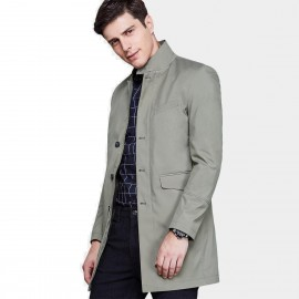 Qzhihe Gentleman Green Trench Coat (HMW3275)