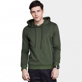 Qzhihe Drawstrings Hooded Green Sweater (HMW3283)