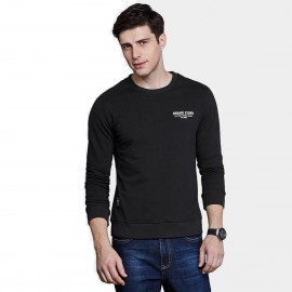 Qzhihe Round Neck Brand Story Black Sweater (HMW3285)