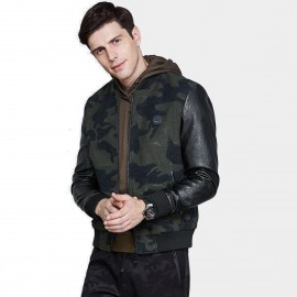 Qzhihe Camouflage Army Print Faux Leather Green Jacket (HMW3328)