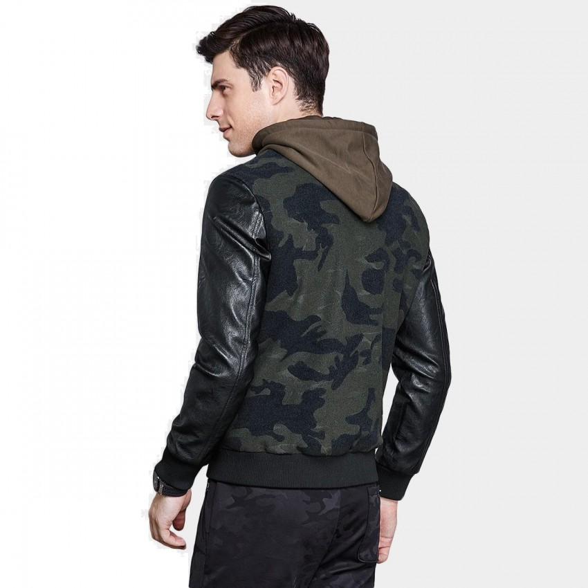 0967c93e16d06 Qzhihe Camouflage Army Print Faux Leather Green Jacket (HMW3328) - 0cm
