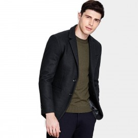 Qzhihe Two Button Black Blazer (HMX3267)