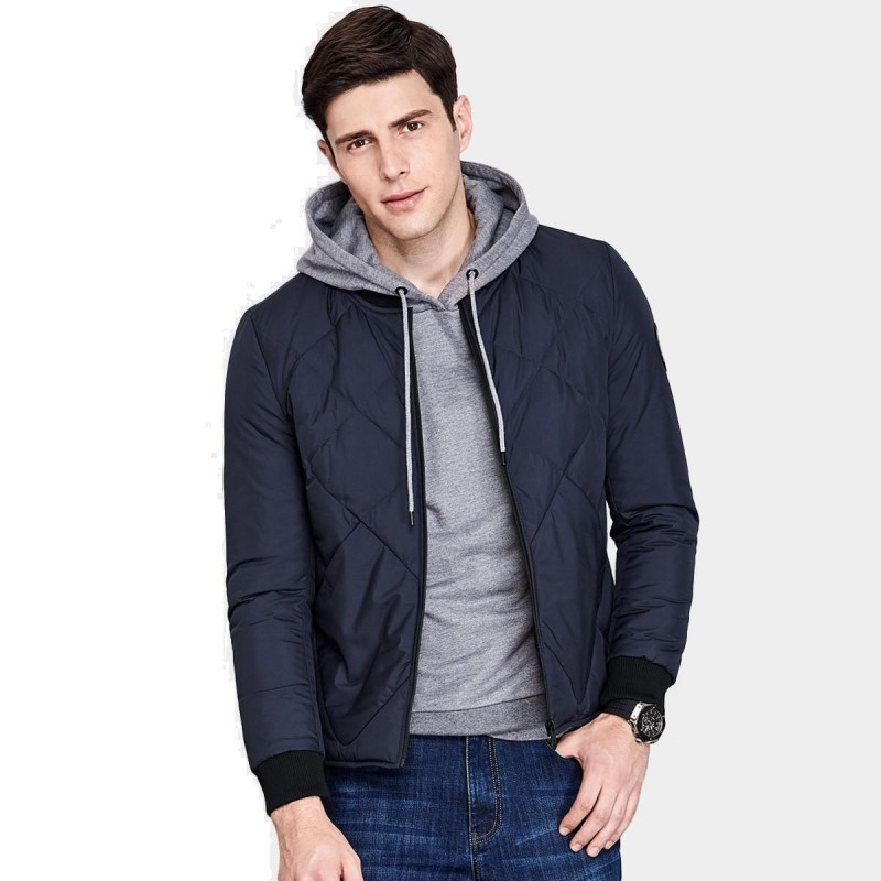 Qzhihe Square Patterned Low Collar Navy Down Jacket (HMY3581)