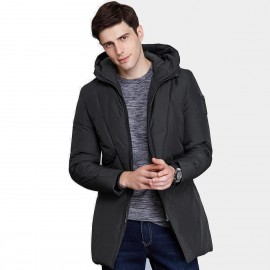 Qzhihe Long Hooded Black Down Jacket (HMY3596)