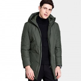 Qzhihe Long Hooded Green Down Jacket (HMY3596)
