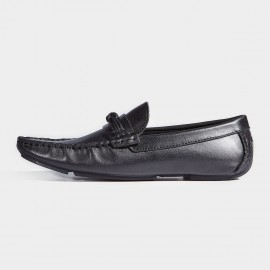 Herilios Boat Style Smooth Black Loafers (H7105D03)