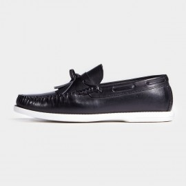 Herilios White Soles Boat Style Smooth Black Loafers (H7105D13)
