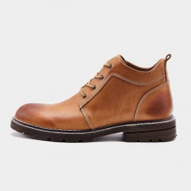 Herilios Plain Toe Working Style Apricot Boots (H7305G07)