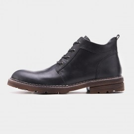 Herilios Plain Toe Working Style Black Boots (H7305G07)