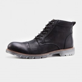 Herilios Cap Toe Working Style Black Boots (H7305G10)