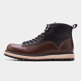 Herilios Multi-Fabric High Brown Boots (H7305G17)