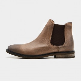 Herilios Low Heel Tradiional Chelsea Apricot Boots (H7305G26)