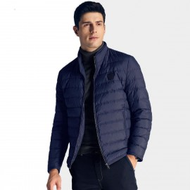 Qzhihe Puffy Zipper Royal Blue Down Jacket (HMY3265)