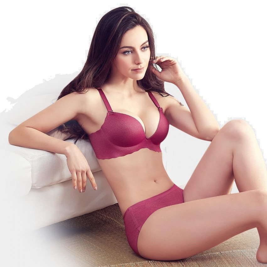 773b97a493 ... Olanfen Minimalist Extra Soft Feeling Invisible Detachable Straps Bra    Underwear Wine Set (T6027) ...