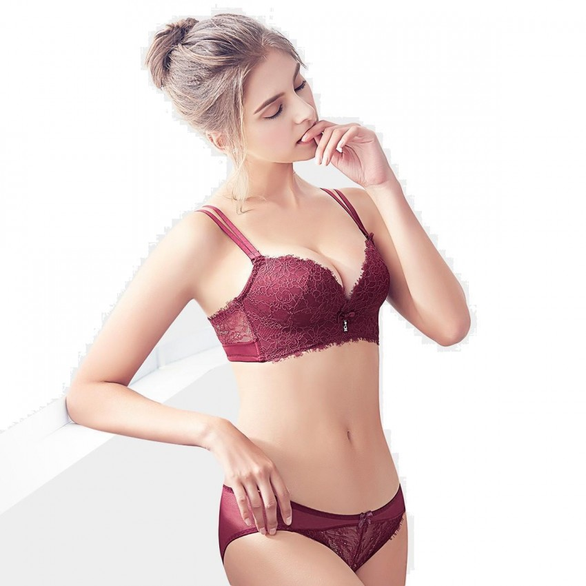 bf7fd628b ... Olanfen Daisy Patterned See Through Lace Double Strap Bra   Underwear  Wine Set (T6030) ...