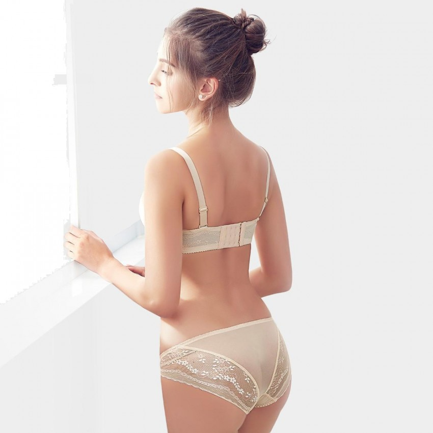 85562865eb Olanfen Delicate Floral Lace Patchwork Removable Strap Two Way Bra   Underwear  Nude Set (T6033 ...