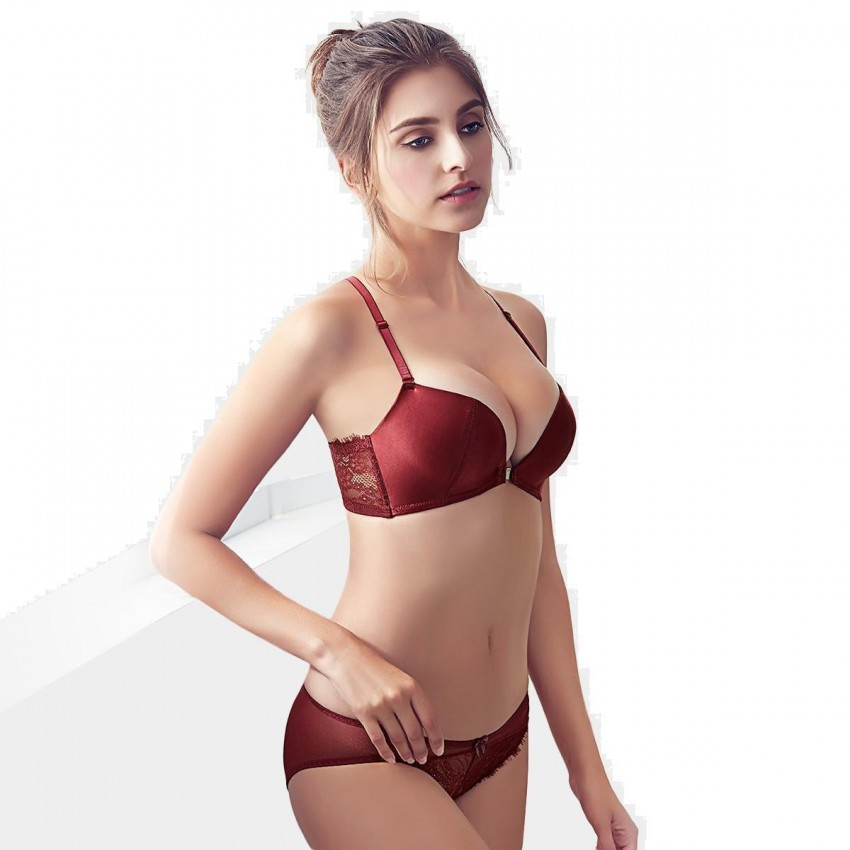 4b4ef917a ... Olanfen Smooth Tassel Front Closure See Through Lace Bra   Underwear  Wine Set (T6035) ...