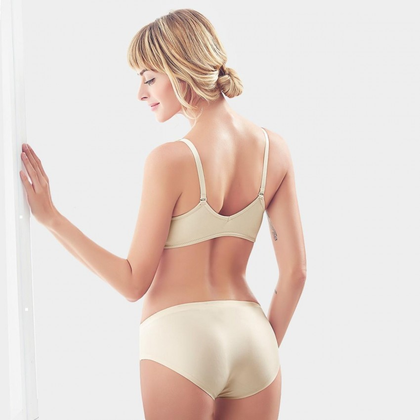 9ebb836272ca4 Olanfen Simple Grooves Molded Push Up Front Closure Bra   Invisible  Underwear Nude Set (T6062 ...
