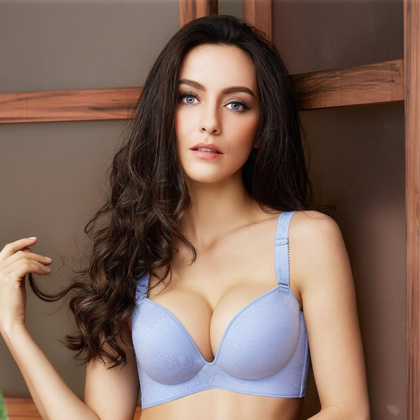 10a2d1ae41 Olanfen China Chic Floral Embroidery Push Up Blue Bra (W6058) - 0cm
