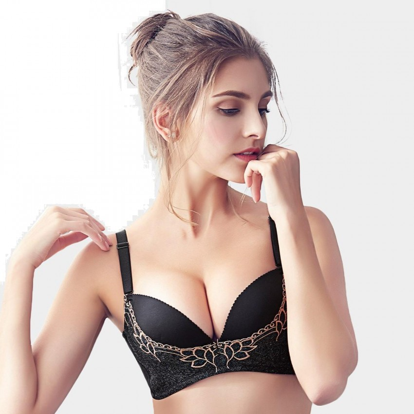 Olanfen Embroidered Mesh Patchwork V-Shape Detachable Straps Push Up Black Bra (W6095)