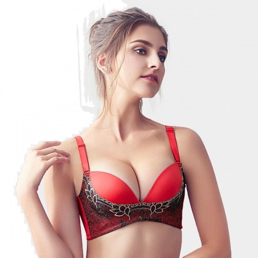 Olanfen Embroidered Mesh Patchwork V-Shape Detachable Straps Push Up Red Bra (W6095)