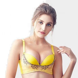 Olanfen Embroidered Mesh Patchwork V-Shape Detachable Straps Push Up Yellow Bra (W6095)