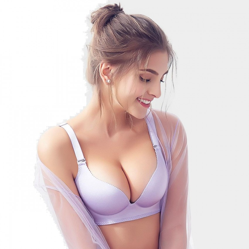 Olanfen Solid Color High Side Wing T Shirt Push Up Lilac Bra (W6096)