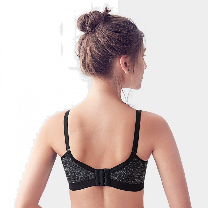 8f3631ae7f865 Olanfen Cotton Mixing Color Gradient Push Up V Shape Black Bra (W6101) ...