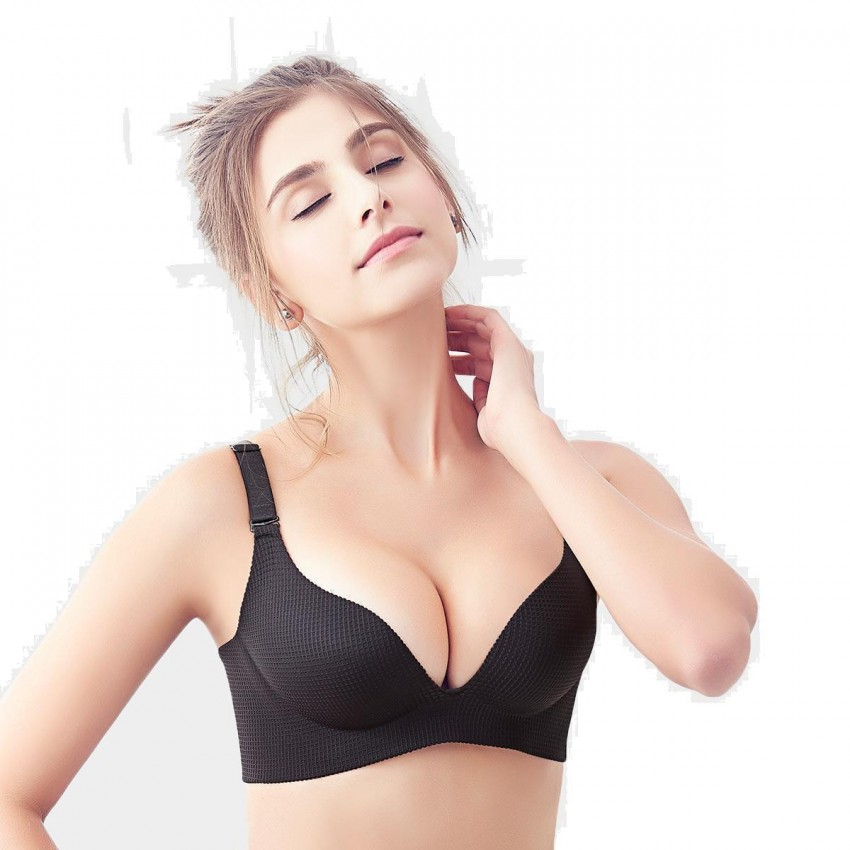 Olanfen Waffle Gradient Invisible Molded Detachable Strap Push Up Black Bra (W6110)