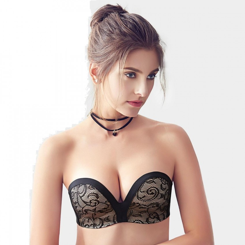 84c0831dd9f65 Olanfen Strapless V Shape Back Closure Pattern Lace Black Bra (W6126)