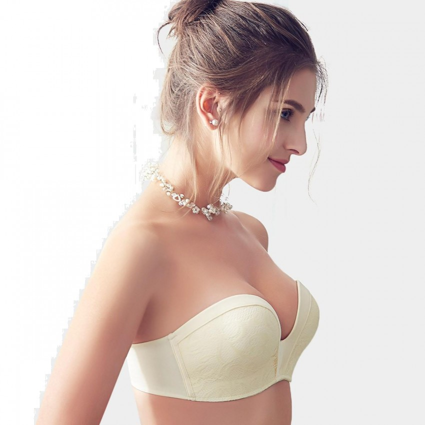 2759160229067 ... Olanfen Strapless V Shape Back Closure Pattern Lace Ivory Bra (W6126)  ...