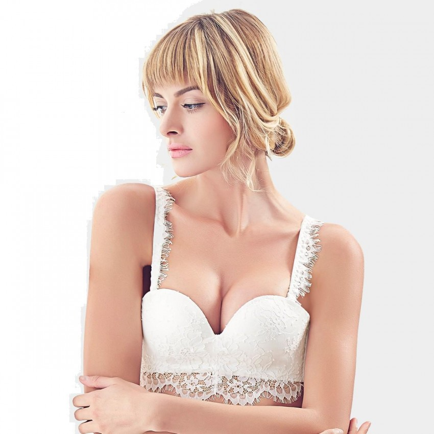 a1b34069a5 Olanfen Extended Floral Lace Under Edge Push Up White Bra (W6134)