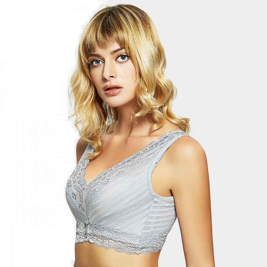 ede79e3bea ... Olanfen Full Cup Vest Cutting Lace Crystal Tassel Pendent Push Up Grey  Bra (W6140) ...