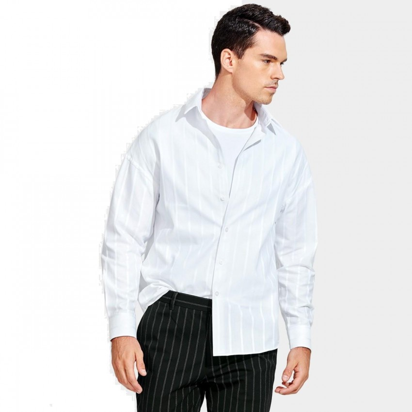 bf8a65ae2 Basique Loose-Fit Button-Down Verticle White Stripe Collar Shirt (03.0127)  - 0cm