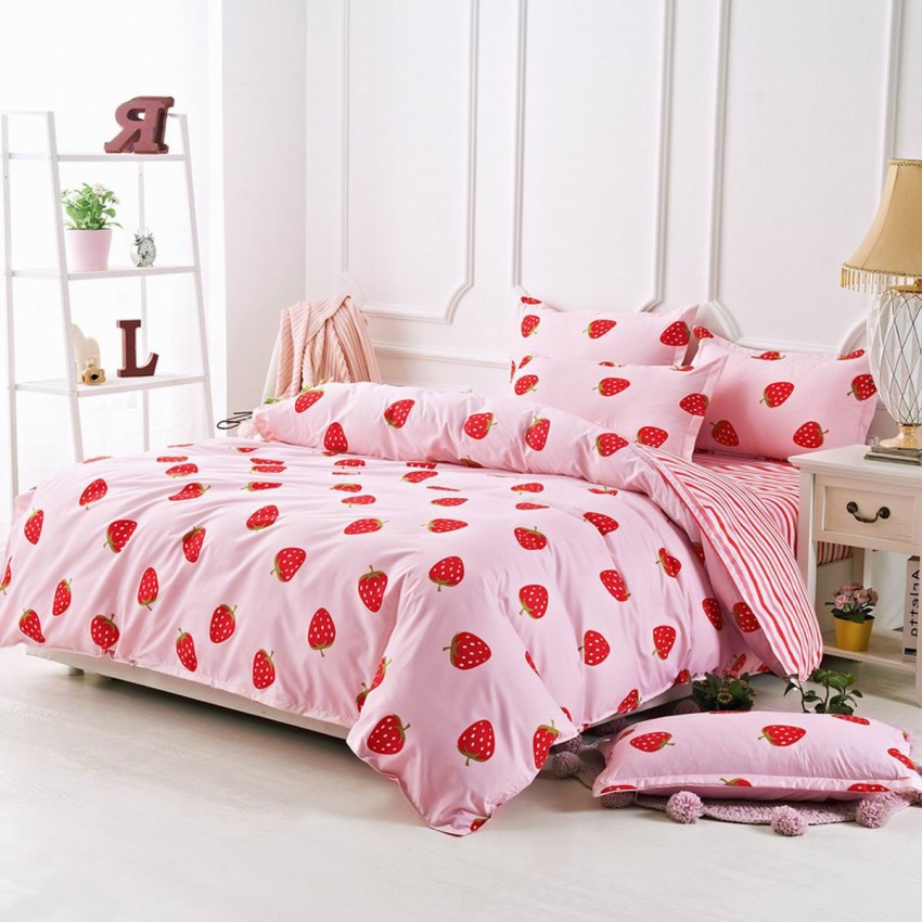 Aix Strawberry Pink Bed Linen (LJ17091)